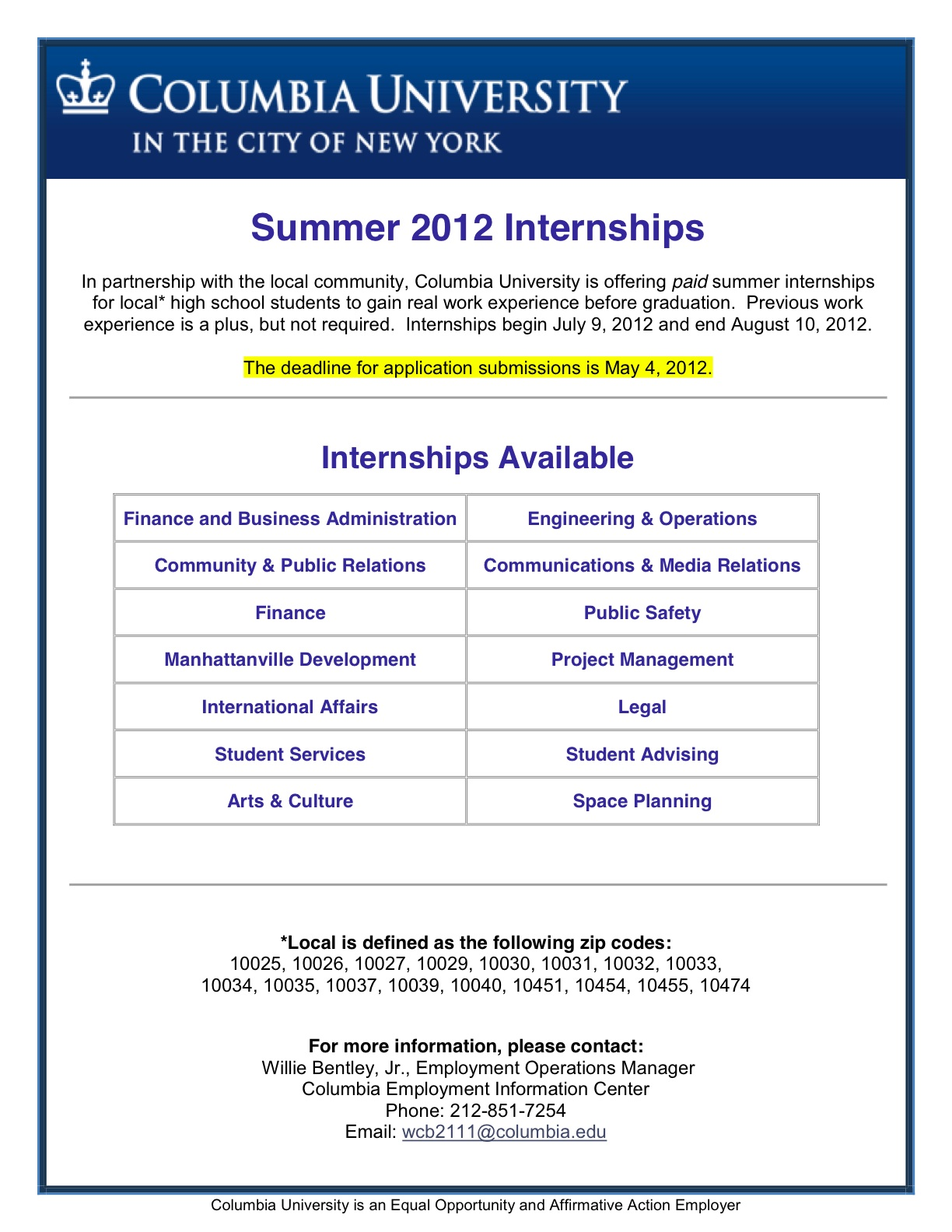 The Illustrious Columbia University, Is Offering Local* High School  Students PAID Internships ...  High School Internship Resume