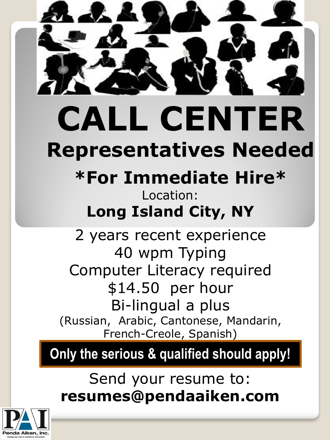 call center employment opportunity